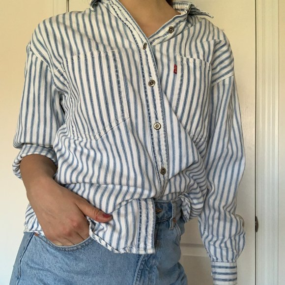 Levi's striped jean shirt